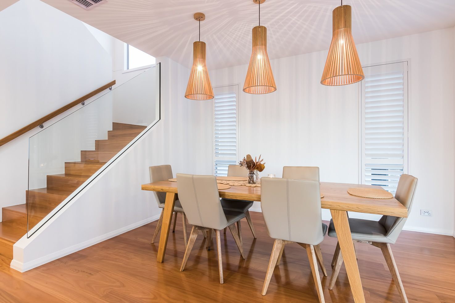 Brisbane Manly contemporary home by evermore dining room area