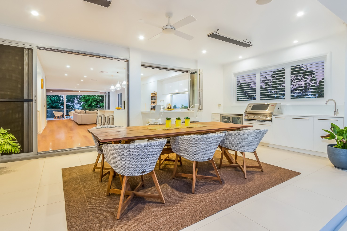 Brisbane Manly contemporary home by evermore looking back into the kitchen from the rear