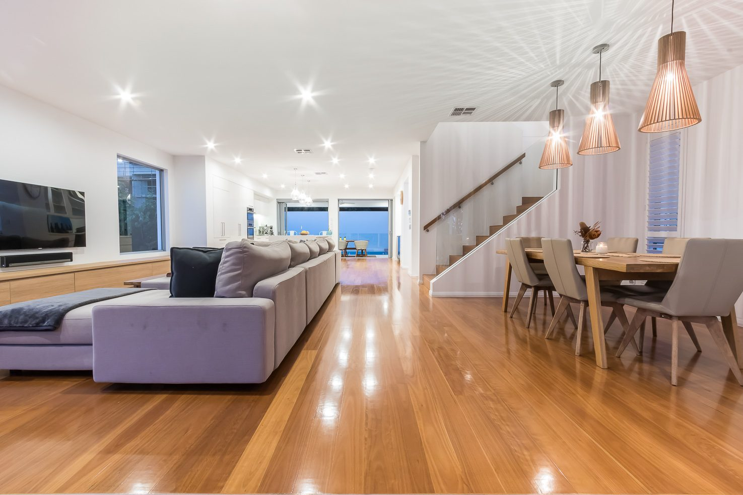Brisbane Manly contemporary home by evermore looking through the main living area