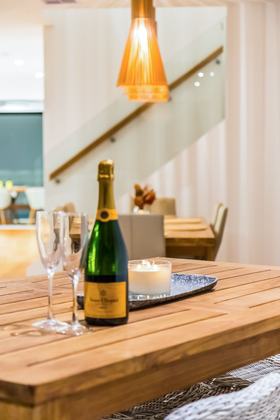 Brisbane Manly contemporary home close up of champagne and dining room